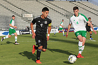 Jesus Angulo of Mexico in possession as Conor Masterson of the Republic of Ireland looks on during Republic Of Ireland Under-21 vs Mexico Under-21, Tournoi Maurice Revello Football at Stade Parsemain on 6th June 2019
