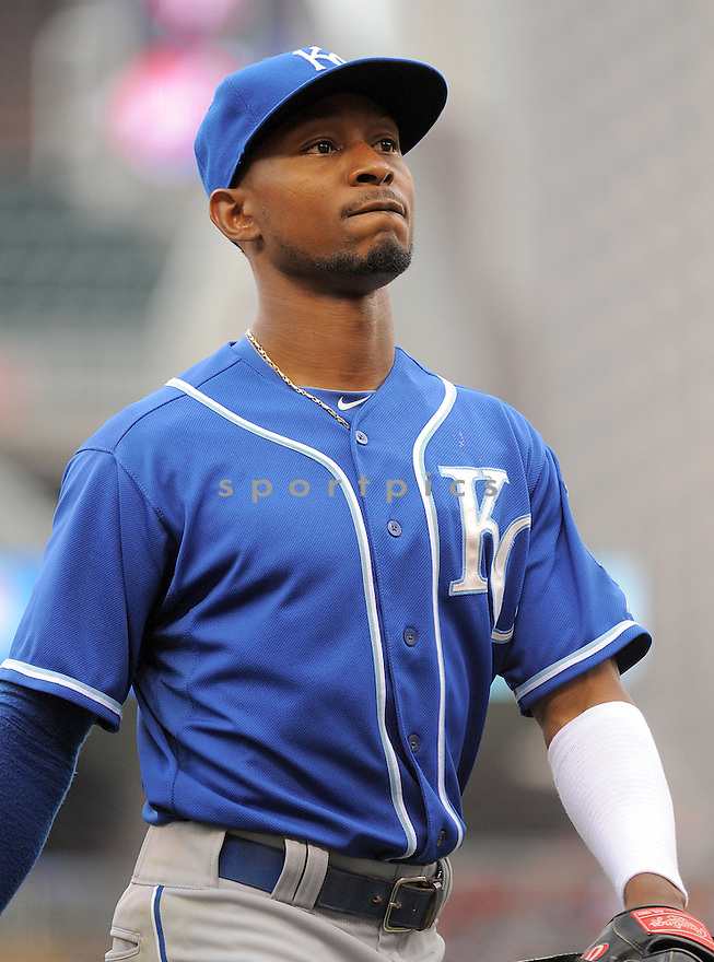 Kansas City Royals Jarrod Dyson (1) during a game against the Minnesota Twins on August 17, 2014 at Target Field in Minneapolis, MN. The Royals beat the Twins 12-6.