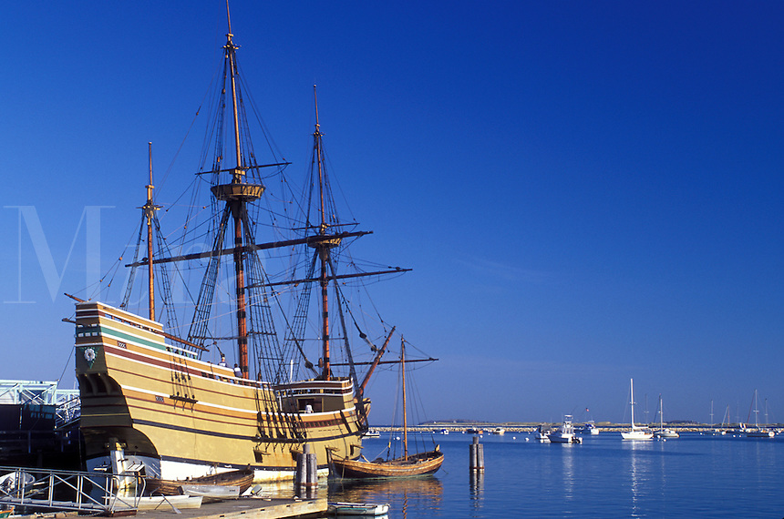 pilgrims, Plymouth, Massachusetts, MA, The Mayflower II moored at State Pier on Plymouth Harbor in Plymouth.