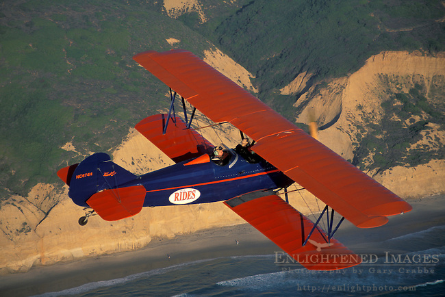 BiPlane over Torrey Pines State Reserve+Northern San Diego Coastline San Diego County, CALIFORNIA