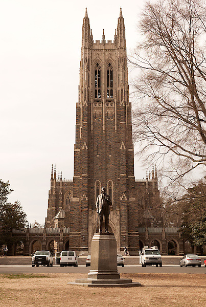 January 23, 2013. Durham, North Carolina. The Duke Chapel is the centerpiece of the West Campus of the university and is fronted by a statue of James Buchanan Duke, who created the Duke Endowment which led to the creation of Duke University.. Duke University has become a power house in the national college basketball arena under the coaching of head coach Mike Krzyzewski. But the university has fought hard to maintain its image of high academic achievement while riding the wave of collegiate athletic success.