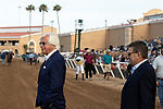 DEL MAR, CA  AUGUST 17:  Trainer Bob Baffert and Assistant Trainer Jimmy Barnes walk out to congratulate #7 Fighting Mad, ridden by Joseph Talamo, after winning the Torrey Pines Stakes (Grade lll) on August 17, 2019 at Del Mar Thoroughbred Club in Del Mar, CA. Photo by Casey Phillips/Eclipse Sportswire/CSM)