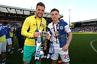Blackburn Rovers' Jayson Leutwiler and Blackburn Rovers' Marcus Antonsson <br /> <br /> Photographer Rachel Holborn/CameraSport<br /> <br /> The EFL Sky Bet League One - Blackburn Rovers v Oxford United - Saturday 5th May 2018 - Ewood Park - Blackburn<br /> <br /> World Copyright &copy; 2018 CameraSport. All rights reserved. 43 Linden Ave. Countesthorpe. Leicester. England. LE8 5PG - Tel: +44 (0) 116 277 4147 - admin@camerasport.com - www.camerasport.com