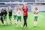 Stockholm 2015-04-11 Fotboll Damallsvenskan Hammarby IF DFF - Mallbackens IF Sunne  :  <br /> Hammarbys m&aring;lvakt Sofia Lundgren , Hel&eacute;n Eke jublar med lagkamrater efter matchen mellan Hammarby IF DFF och Mallbackens IF Sunne  <br /> (Foto: Kenta J&ouml;nsson) Nyckelord:  Fotboll Damallsvenskan Dam Damer Tele2 Arena Hammarby HIF Bajen Mallbacken jubel gl&auml;dje lycka glad happy