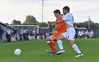 Blackpool's Matty Virtue holds off AFC Fylde's Andrew Marveggio<br /> <br /> Photographer Dave Howarth/CameraSport<br /> <br /> Football Pre-Season Friendly - AFC Fylde v Blackpool - Tuesday July 16th 2019 - Mill Farm - Fylde<br /> <br /> World Copyright © 2019 CameraSport. All rights reserved. 43 Linden Ave. Countesthorpe. Leicester. England. LE8 5PG - Tel: +44 (0) 116 277 4147 - admin@camerasport.com - www.camerasport.com
