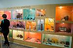 Visitante observando  fósseis e minerais no Museu Geológico Valdemar Lefèvre, São Paulo - SP, 07/2014.