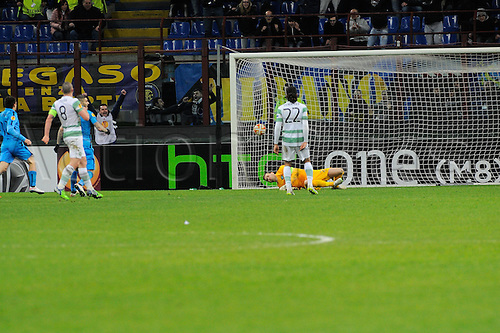 26.02.2015. Milan, Italy.  Craig Gordon of Celtic FC  is beaten on the post by the shot from Fredy Guarin for the Inter goal during the Europa League soccer match between Inter Milan and Celtic FC at San Siro Stadium in Milan, Italy.