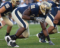 Pittsburgh defensive lineman Greg Romeus (91). The Pittsburgh Panthers defeated the Navy Midshipmen 27-14 at Heinz Field, Pittsburgh, PA.