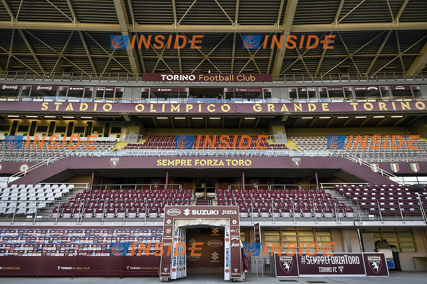 Empty stands with a banner reading Always Go Torino are seen during the Serie A football match between Torino FC and Udinese at Olimpico stadium in Torino ( Italy ), June 23th, 2020. Play resumes behind closed doors following the outbreak of the coronavirus disease. <br /> Photo Image Sport / Insidefoto