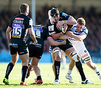 Mitch Lees of Exeter Chiefs takes on the Bath Rugby defence. Gallagher Premiership match, between Exeter Chiefs and Bath Rugby on March 24, 2019 at Sandy Park in Exeter, England. Photo by: Patrick Khachfe / Onside Images