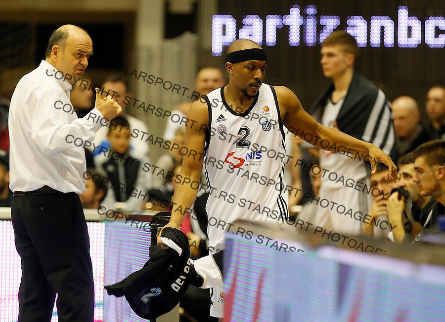 Dusko Vujosevic Joshua Akognon Aba Jadranska Regionalna liga, Partizan - Zadar, 25. kolo Beograd, Srbija, 15.3.2015.  (credit image & photo: Pedja Milosavljevic / STARSPORT).