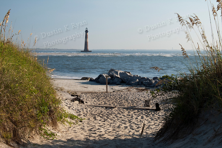 Folly Beach South Carolina Sunrise Beach Scene Morris Island Light house Lighthouse