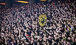 Solna 2014-03-31 Fotboll Allsvenskan AIK - IFK G&ouml;teborg :  <br /> AIK supportrar p&aring; Norra St&aring; med en flagga med texten &quot; Sol Invictus Norra St&aring; &quot;<br /> (Foto: Kenta J&ouml;nsson) Nyckelord:  AIK Gnaget Solna IFK G&ouml;teborg Bl&aring;vitt supporter fans publik supporters