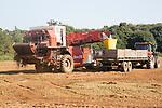 deWulf potato harvester machinery harvesting potatoes in field, Chillesford, Suffolk, England, UK