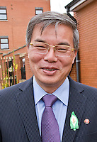 Ambassador to UK His Excellency Mr. Hyon Hak Bong of the Democratic People's Republic of Korea in Southall after attending a Saklatvala Hall Commemoration which celebrated the centenary of  Kim Il-sung's birth, sporting an Easter Lilly (3), Easter Sunday 2012