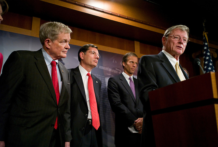 WASHINGTON, DC - Sept. 30: Sen. Christopher S. Bond, R-Mo., Sen. John Barrasso, R-Wyo., Sen. John Thune, R-S.D., and Senate Environment and Public Works ranking member James M. Inhofe, R-Okla., during a news conference on a draft energy bill by Senate Foreign Relations Chairman John Kerry, D-Mass., and Senate Environment and Public Works Chairwoman Barbara Boxer, D-Calif., that would include measures aimed at climate change and reducing dependence on foreign oil. (Photo by Scott J. Ferrell/Congressional Quarterly)