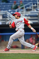 Williamsport Crosscutters shortstop Emmanuel Marrero (18) at bat during the second game of a doubleheader against the Batavia Muckdogs on July 29, 2014 at Dwyer Stadium in Batavia, New York.  Batavia defeated Williamsport 1-0 in 11 innings.  (Mike Janes/Four Seam Images)