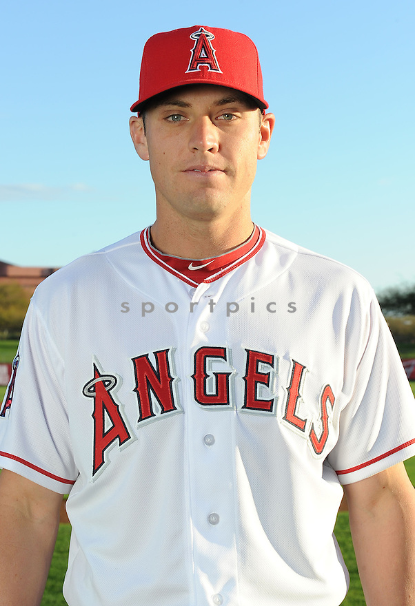 Los Angeles Angels Peter Bourjos (25) during media photo day on February 21, 2013 at spring training in Tempe, AZ.