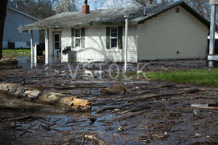 Town street after flood