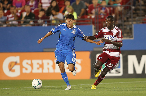 FRISCO, TX:Je-Vaughn Watson  in action against the San Jose Earthquakes at FC Dallas Stadium in Frisco, Texas on May 25,2013 (Photo Rick Yeatts)