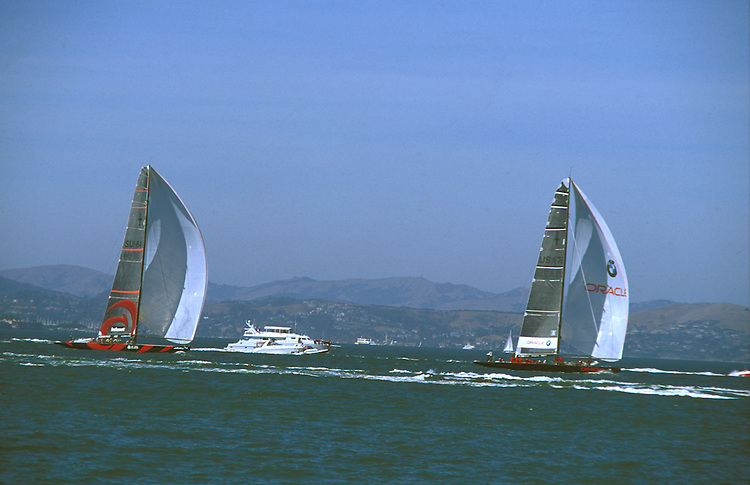 America's cup Yachts racing in the San Francisco Bay, California