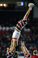 Ed Slater of Leicester Tigers looks to win the ball at a lineout. European Rugby Champions Cup match, between Leicester Tigers and Munster Rugby on December 17, 2016 at Welford Road in Leicester, England. Photo by: Patrick Khachfe / JMP