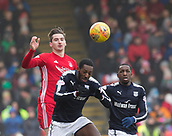 17th March 2018, Pittodrie Stadium, Aberdeen, Scotland; Scottish Premier League football, Aberdeen versus Dundee; Kenny McLean of Aberdeen competes in the air with Roarie Deacon of Dundee