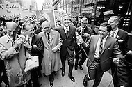 23 Apr 1968, Manhattan, New York City, New York State, USA --- Senator Eugene McCarthy campaigning in New York. --- Image by © JP Laffont