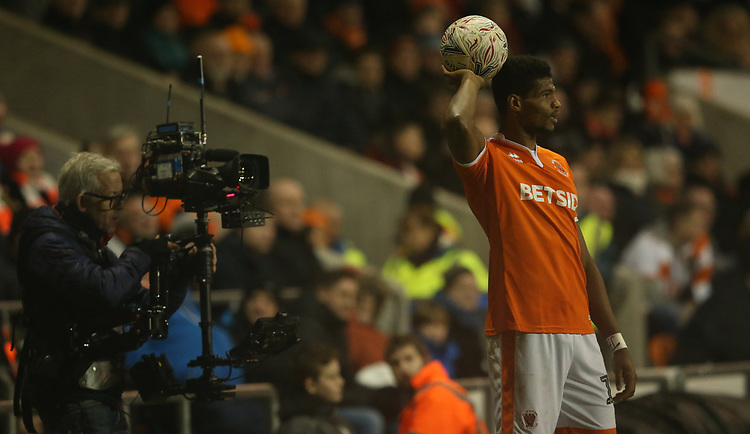 Blackpool's Michael Nottingham under the gaze of a mobile television camera<br /> <br /> Photographer Stephen White/CameraSport<br /> <br /> Emirates FA Cup Third Round - Blackpool v Arsenal - Saturday 5th January 2019 - Bloomfield Road - Blackpool<br />  <br /> World Copyright &copy; 2019 CameraSport. All rights reserved. 43 Linden Ave. Countesthorpe. Leicester. England. LE8 5PG - Tel: +44 (0) 116 277 4147 - admin@camerasport.com - www.camerasport.com