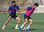 Atletico de Madrid's Stefan Savic (l) and Joao Felix during training session. August 7,2020.(ALTERPHOTOS/Atletico de Madrid/Pool)
