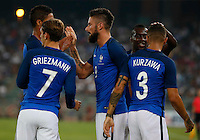 Olivier Giroud celebrates after scoring during the  friendly  soccer match,between Italy  and  France   at  the San  Nicola   stadium in Bari Italy , September 01, 2016<br /> <br /> amichevole di calcio tra le nazionali di Italia e Francia