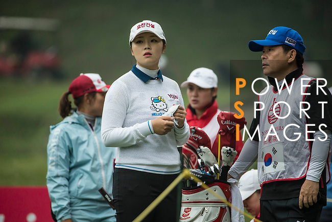 Ye Jin Kim of South Korea tees off at 13th hole during Round 3 of the World Ladies Championship 2016 on 12 March 2016 at Mission Hills Olazabal Golf Course in Dongguan, China. Photo by Lucas Schifres / Power Sport Images