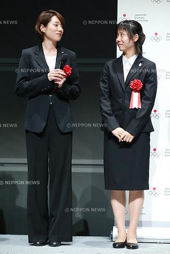 (L-R)<br /> Ayaka Kikuchi,<br /> Miho Takagi,<br /> JUNE 12, 2015 - News : <br /> JOC Sports Awards ceremony <br /> at Tokyo International Forum, Tokyo, Japan. <br /> (Photo by Shingo Ito/AFLO SPORT)