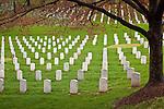 Rows of memorial stones in Arlington National Cemetery, Arlington, VA, USA