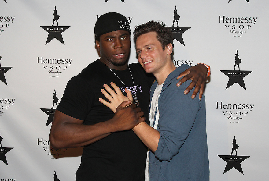 Actors Okieriete Onaodowan and Jonathan Groff are seen at Hennessy V.S.O.P Celebrates Hamilton's 1st Week of performances on Broadway at URBO on Saturday, July 18, 2015, in New York. (Photo by Donald Traill/Invision for Hennessy/AP Images)