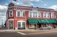A former bank building is now how to City Hall near other historic buildings in downtown Sayer Oilahoma's historic district on Route 66.
