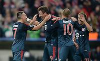 FUSSBALL   CHAMPIONS LEAGUE   SAISON 2013/2014   Vorrunde FC Bayern Muenchen - ZSKA Moskau       17.09.2013 Bayern Jubel nach dem 2:0: Franck Ribery, Mario Mandzukic, Arjen Robben und Philipp Lahm  (v.l., alle FC Bayern Muenchen)