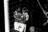 Pix:Michael Steele/SWpix...Soccer. Manchester United Celebration...COPYRIGHT PICTURE>>SIMON WILKINSON..Manchester United's Paul Ince and Bryan Robson celebrate a goal.