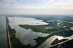 Nederland, Flevoland, Gemeente Lelystad, 27-08-2013; Oostvaardersplassen met Grote Plas. Links Markermeer en Oostvaardersdijk.<br /> Bird sanctuary and nature reserve Oostvaardersplassen north-east of the city of Almere, Markermeer (lake) left.<br /> luchtfoto (toeslag op standaard tarieven);<br /> aerial photo (additional fee required);<br /> copyright foto/photo Siebe Swart.
