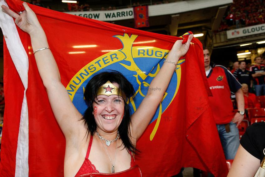 Photo: Richard Lane/Richard Lane Photography. .Munster v Toulouse. Heineken Cup Final. 24/05/2008. .A Munster fan dressed as Wonder Women.