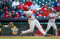 Houston Cougars third baseman Jonathan Davis #40 swings the bat against the Baylor Bears in the NCAA baseball game on March 2, 2013 at Minute Maid Park in Houston, Texas. Houston defeated Baylor 15-4. (Andrew Woolley/Four Seam Images).