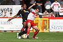 James Dunne of Stevenage holds off Chuks Aneke of Crewe. Stevenage v Crewe Alexandra - npower League 1 -  Lamex Stadium, Stevenage - 15th September, 2012. © Kevin Coleman 2012.
