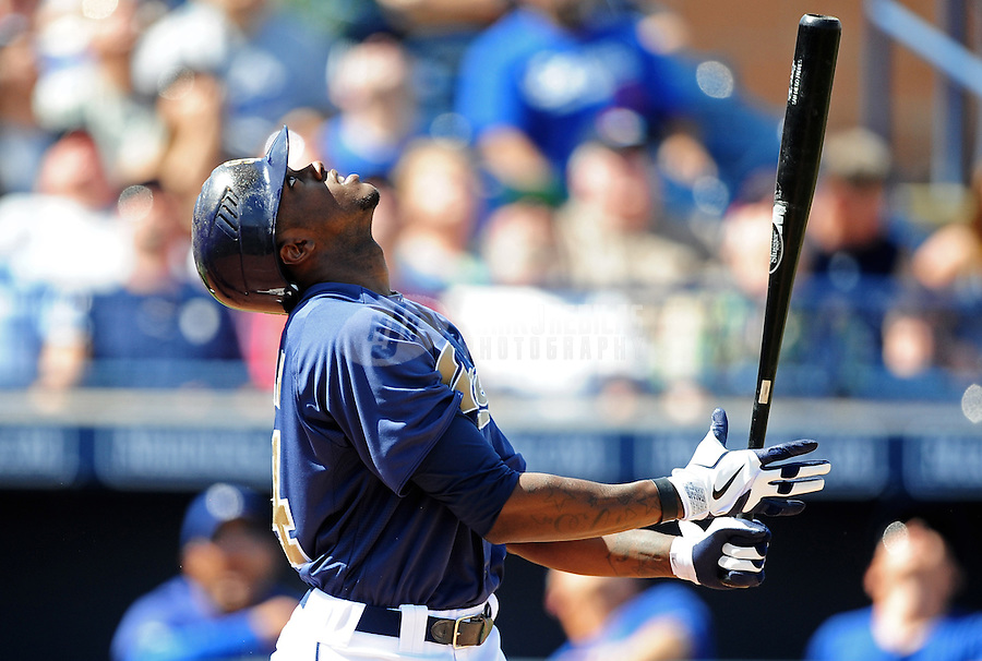 Mar. 27, 2012; Peoria, AZ, USA; San Diego Padres batter Cameron Maybin pops out in the third inning against the Los Angeles Dodgers at Peoria Stadium.  Mandatory Credit: Mark J. Rebilas-