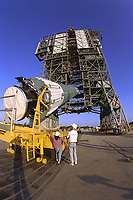 07-29-1997 - File Photo<br /> The first stage of the Delta II rocket which will to be used to launch the Advanced Composition Explorer (ACE) spacecraft is erected at Launch Complex 17A at Cape Canaveral Air Station. Scheduled for launch on Aug. 25, ACE will study low-energy particles of solar origin and high-energy galactic particles. The ACE observatory will be placed into an orbit almost a million miles (1.5 million kilometers) away from the Earth, about 1/100 the distance from the Earth to the Sun