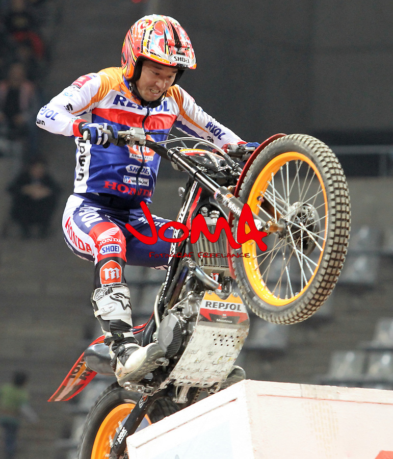 10.02.2013. Barcelona, Spain. FIM X Trial World Championship. Picture show Takahisha Fujinami riding Honda in action during GP of Catalunya at Palau St. Jordi