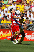 28 AUGUST 2010:  FC Dallas' Zach Loyd and Emilio Renteria (19) of the Columbus Crew (20) during MLS soccer game between FC Dallas vs Columbus Crew at Crew Stadium in Columbus, Ohio on August 28, 2010.