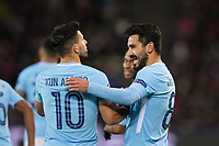 Manchester City's Ilkay Gundogan celebrates scoring his side's first goal with team-mate Sergio Aguero <br /> <br /> Photographer Craig Mercer/CameraSport<br /> <br /> UEFA Champions League Round of 16 First Leg - Basel v Manchester City - Tuesday 13th February 2018 - St Jakob-Park - Basel<br />  <br /> World Copyright &copy; 2018 CameraSport. All rights reserved. 43 Linden Ave. Countesthorpe. Leicester. England. LE8 5PG - Tel: +44 (0) 116 277 4147 - admin@camerasport.com - www.camerasport.com