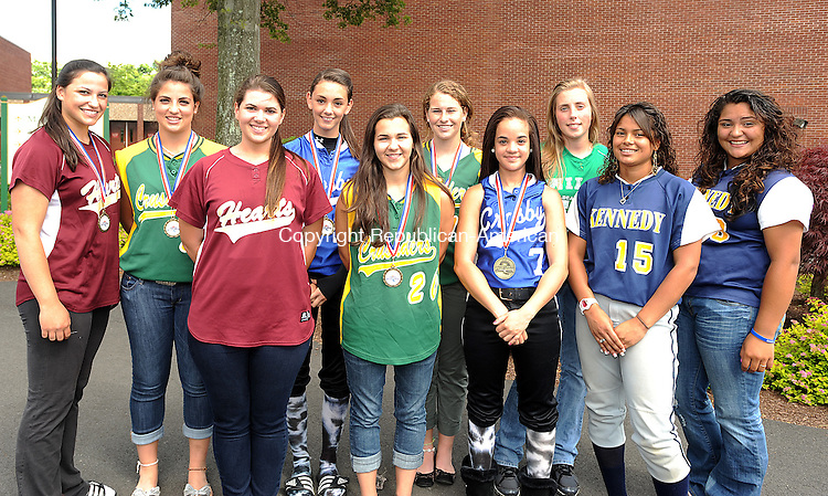 WATERBURY, CT-06 JUNE 2012--0606012JS10--Members of the All-City softball team, front row, from left, Finkenzeller-Sacred Heart; Kayla DosSantos-Holy Cross; Iesha Matos-Crosby; Lillian Martinez-Kennedy and Yaixsa Vargas-Kennedy. Back row, from left, Jenna LoRusso-Sacred Heart; Adriana Morrone-Holy Cross; Katie Rocco-Crosby; Mikaela Rice-Holy Cross and Deana Jo Alberto-Wilby. .Jim Shannon Republican-American