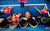 Aug. 7, 2008; Beijing, CHINA; Shawn Johnson (right) with her teammates during womens gymnastics training prior to the Olympics at the National Indoor Stadium. Mandatory Credit: Mark J. Rebilas-