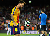 9th September 2017, Camp Nou, Barcelona, Spain; La Liga football, Barcelona versus Espanyol; Leo Messi during warm-up